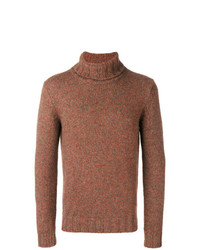 Jersey de cuello alto de punto marrón de Lardini