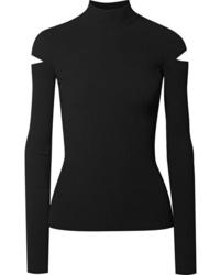 Jersey de cuello alto de punto negro de Helmut Lang