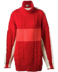Jersey de cuello alto de punto rojo