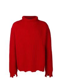 Jersey de cuello alto de punto rojo de Paura