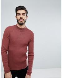 Jersey de cuello alto de punto rosa de Brave Soul