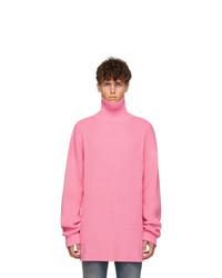 Jersey de cuello alto de punto rosado