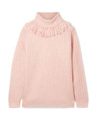 Jersey de cuello alto de punto rosado de Miu Miu