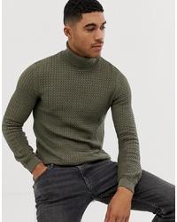Jersey de cuello alto de punto verde oliva de ASOS DESIGN