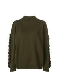Jersey de cuello alto de punto verde oliva de Barrie