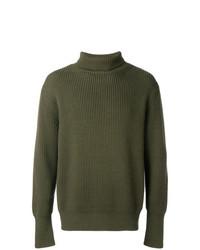 Jersey de cuello alto de punto verde oliva de Batoner