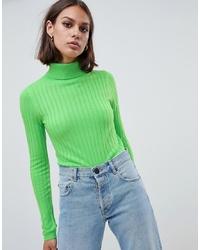 Jersey de cuello alto de punto verde de ASOS DESIGN