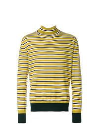 Jersey de cuello alto de rayas horizontales amarillo