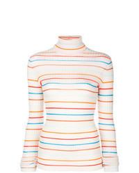 Jersey de cuello alto de rayas horizontales blanco