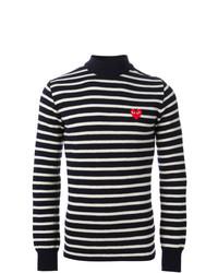 Jersey de cuello alto de rayas horizontales en azul marino y blanco de Comme Des Garcons Play