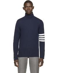 Jersey de cuello alto de rayas horizontales en azul marino y blanco de Thom Browne
