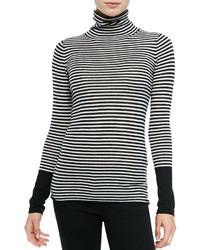 Jersey de cuello alto de rayas horizontales en blanco y negro