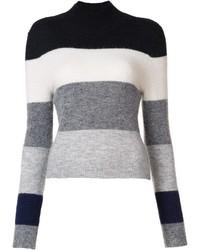 Jersey de cuello alto de rayas horizontales en blanco y negro de Equipment