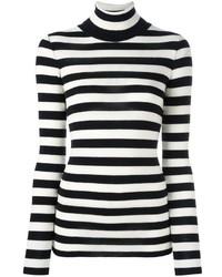 Jersey de cuello alto de rayas horizontales en blanco y negro de Laneus