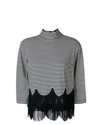 Jersey de cuello alto de rayas horizontales en blanco y negro de Marc Jacobs