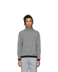 Jersey de cuello alto de rayas horizontales en blanco y negro de Moncler