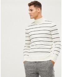 Jersey de cuello alto de rayas horizontales en blanco y negro de New Look