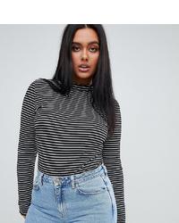 Jersey de cuello alto de rayas horizontales en blanco y negro de PrettyLittleThing