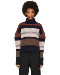 Jersey de cuello alto de rayas horizontales en multicolor