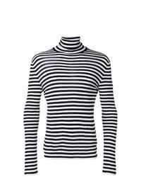Jersey de cuello alto de rayas horizontales en negro y blanco