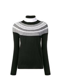 Jersey de cuello alto de rayas horizontales en negro y blanco de D-Exterior
