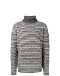 Jersey de cuello alto de rayas horizontales gris
