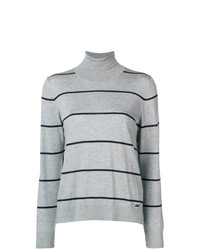 Jersey de cuello alto de rayas horizontales gris de Fay