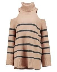 Jersey de cuello alto de rayas horizontales marrón claro de River Island