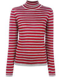 Jersey de cuello alto de rayas horizontales rojo