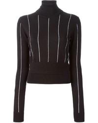 Jersey de cuello alto de rayas verticales negro