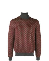 Jersey de cuello alto de rombos en multicolor de Prada