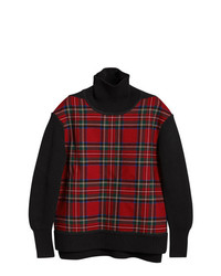 Jersey de cuello alto de tartán negro de Burberry