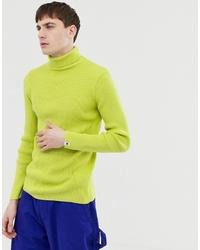 Jersey de cuello alto en amarillo verdoso de Collusion