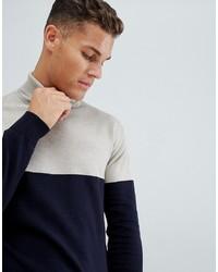 Jersey de cuello alto en azul marino y blanco de French Connection
