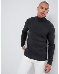 Jersey de cuello alto en gris oscuro de ASOS DESIGN
