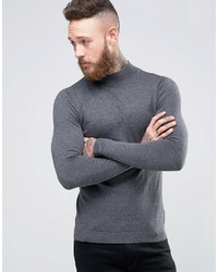 Jersey de cuello alto en gris oscuro de Asos