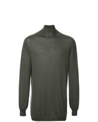 Jersey de cuello alto en gris oscuro de Rick Owens