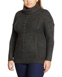 Jersey de cuello alto en gris oscuro de Ulla Popken