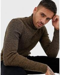 Jersey de cuello alto en marrón oscuro de ASOS DESIGN