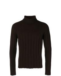 Jersey de cuello alto en marrón oscuro de Mp Massimo Piombo