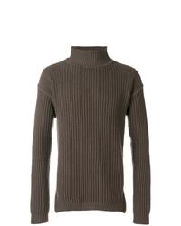 Jersey de cuello alto en marrón oscuro de Rick Owens
