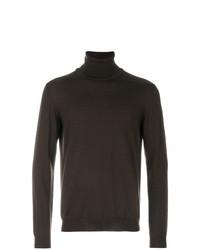 Jersey de cuello alto en marrón oscuro de Zanone