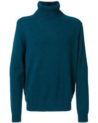 Jersey de cuello alto en verde azulado