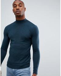Jersey de cuello alto en verde azulado de ASOS DESIGN