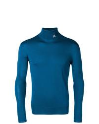 Jersey de cuello alto en verde azulado de Raf Simons
