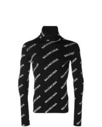 Jersey de cuello alto estampado en negro y blanco de Balenciaga