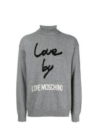 Jersey de cuello alto estampado gris de Love Moschino