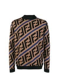 Jersey de cuello alto estampado marrón claro de Fendi
