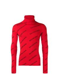 Jersey de cuello alto estampado rojo de Balenciaga