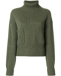 Jersey de cuello alto grueso verde oliva de Chloé